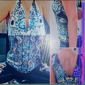 Fitted Blue Paisley V-Neck Cropped Stretch INC SzL